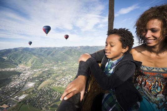 Family Enjoying a Hot Air Balloon Ride