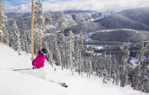 Skier on a slope at Winter Park Resort in Colorado.