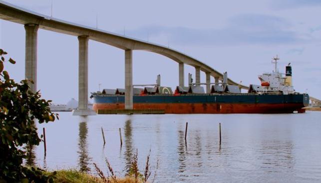 Cargo Ship Passing Under South Norfolk Jordan Bridge
