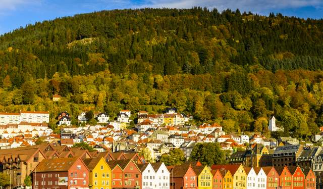 Bryggen in Bergen in autumn colors