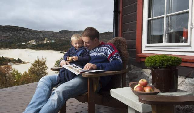 Family at a cabin in Knaben Kvinesdal southern Norway