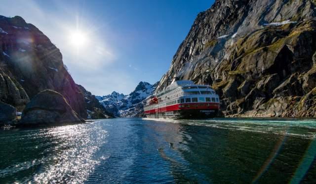 Hurtigruten in a Norwegian fjord