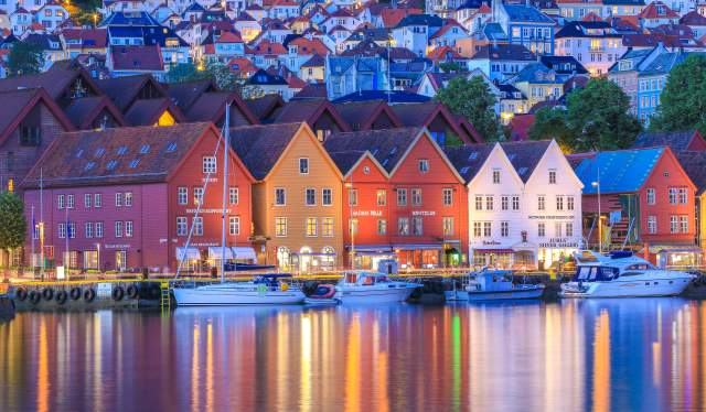 Bryggen (wharf) in Bergen by night