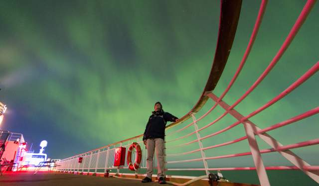 Northern lights view from deck of Hurtigruten ship