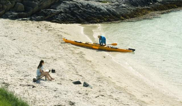 Kayak by beach, Sommarøy in Troms