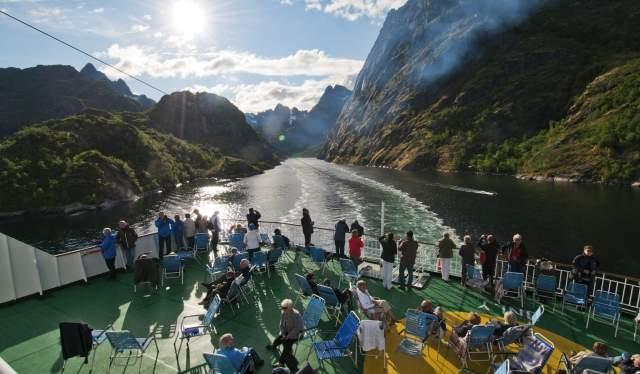 Passenger deck on Hurtigruten, Lofoten