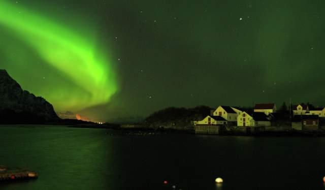 Northern Lights over Henningsvær in Lofoten, Northern Norway