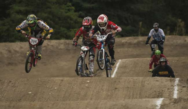 North SeaTac Park BMX Riders racing on track