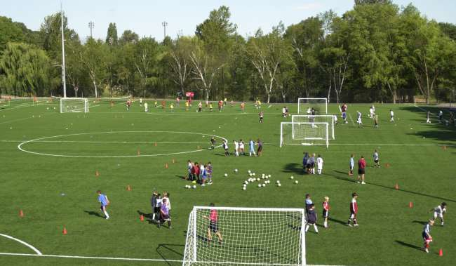 Starfire Soccer fields with kids running drills