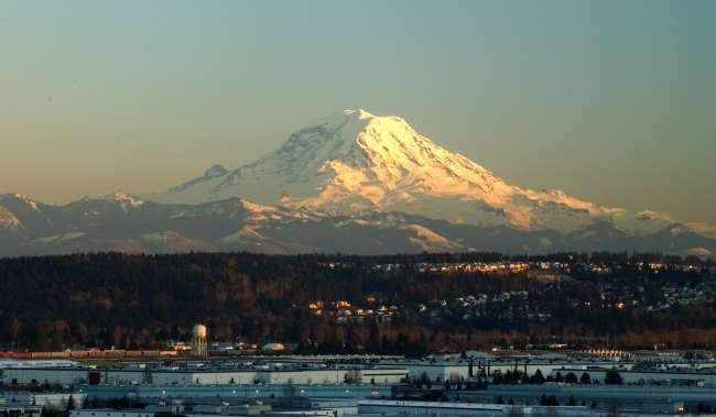 View of Mt. Rainier and valley