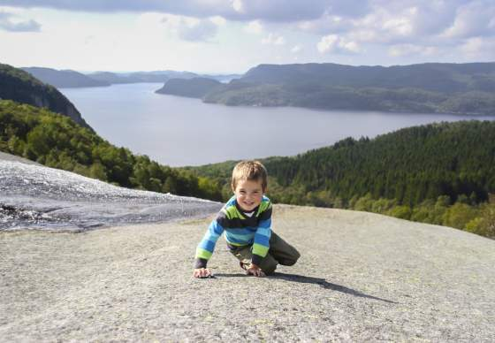 Child Hiking Skrelia Lyngdal Norway