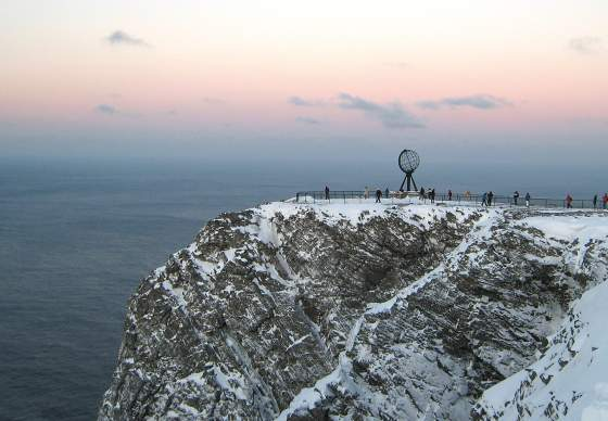 The North Cape plateau covered in snow