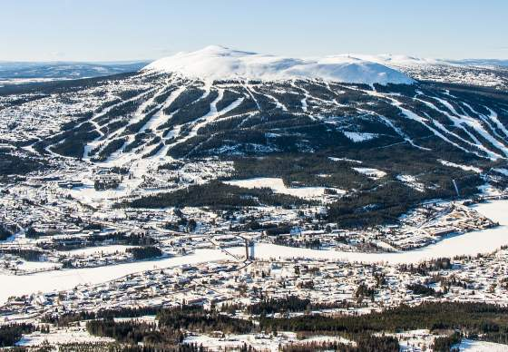 Overview of Trysil and the Trysil Ski Resort in winter