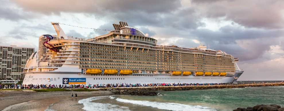 Image of Royal Caribbean's Harmony of the Seas cruise ship leaving Port Everglades on her maiden voyage