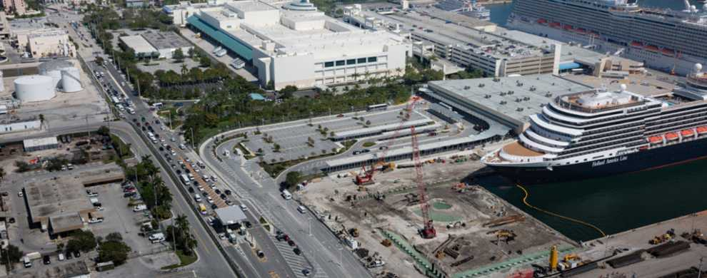 Aerial image looking north showing the new security checkpoint and the convention center.