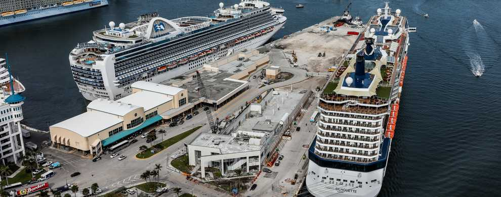 Aerial view of construction on Cruise Terminal 25 with Celebrity and Princess ships docked.