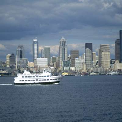 Argosy Cruise Ship with Seattle Skyline.