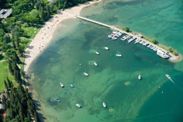 Aerial view of the beach and pier at Clear Lake, Manitoba