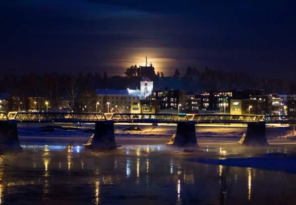 Elverum city view by night