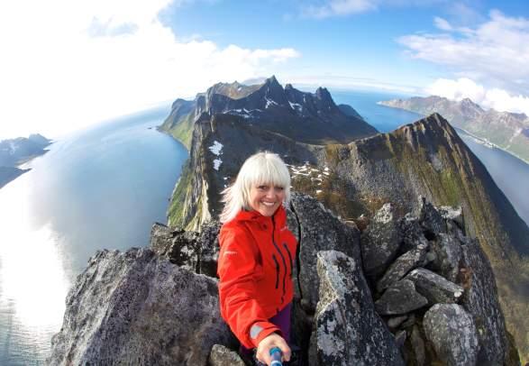 At the top of Segla at Senja, Northern Norway