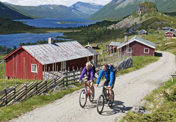 People cycling in scenic surroundings in Valdres