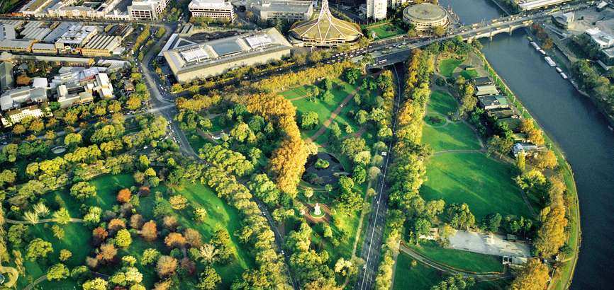 Melbourne aerial view of city skyline and gardens