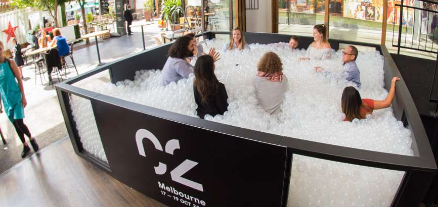 People in ball pit at Melbourne Edge Event