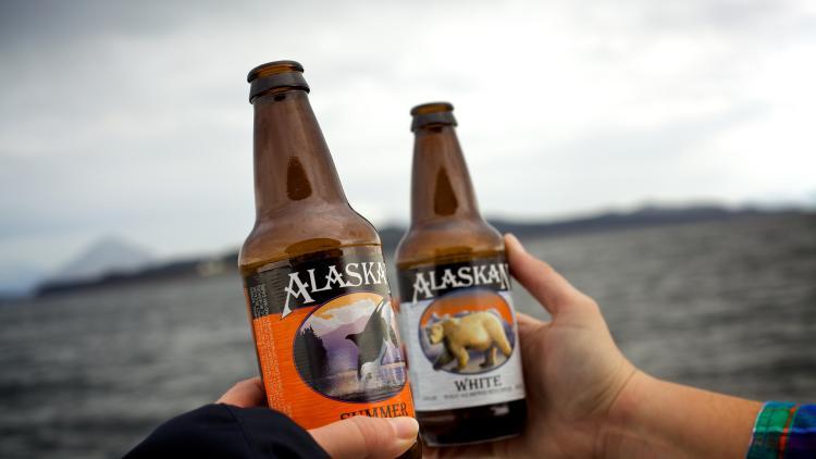 Alaskan beers on boat