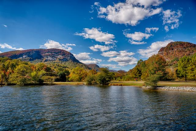 Fall color reflecting off water in Lake Lure