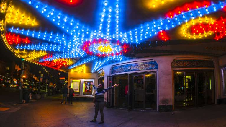 Grand Lake Theater at night
