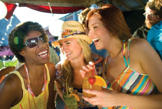 Friends having fun in Panama City Beach, Florida