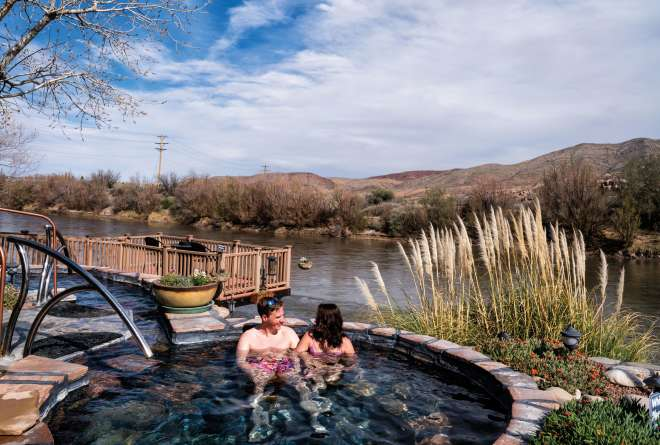 Newlyweds relax at Riverbend Hot Springs in Truth or Consequences