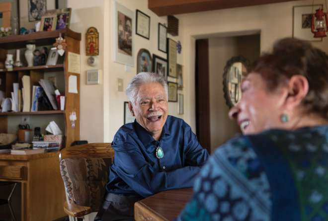 Rudolfo Anaya in his Albuquerque home with his sister Edwina Garcia