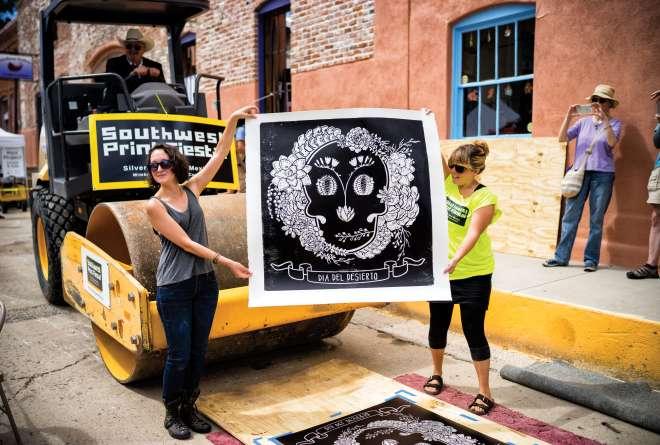 Steamroller-size art at the Southwest Print Fiesta.