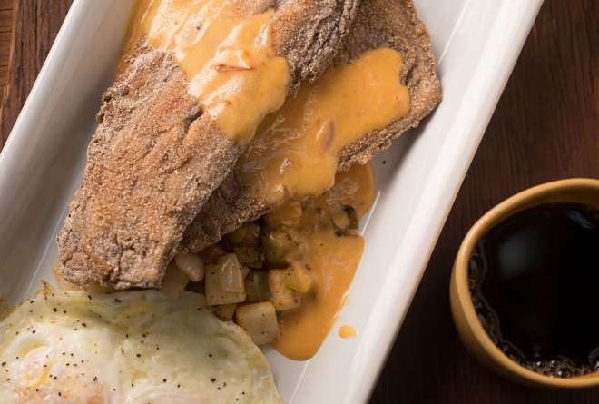 Blue-Corn-Crusted Trout and Eggs with Chipotle Hollandaise