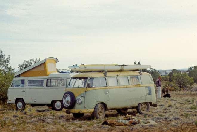 Volkswagen vans converge at a 1970 summer solstice celebration