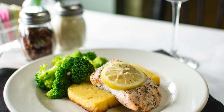 Baked Salmon with Polenta Cake
