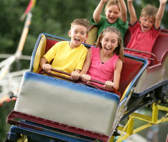 Kids on Roller Coaster