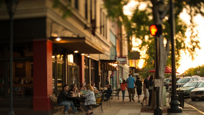 downtown street sunset tilt shift