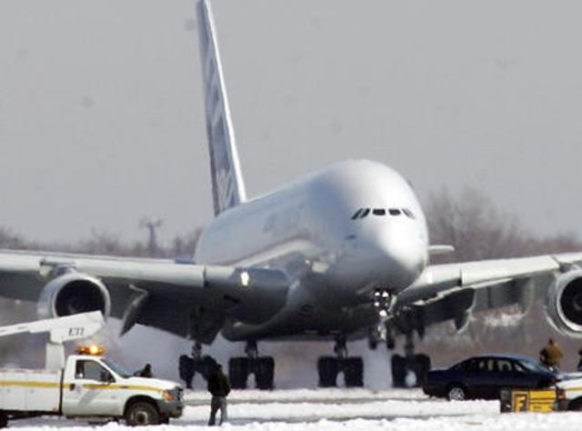 Airplane preparing for takeoff