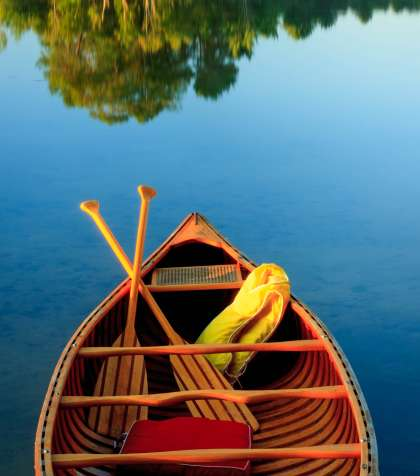 Canoe in Maine lake