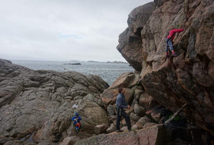 Climbing coastline Southern Norway