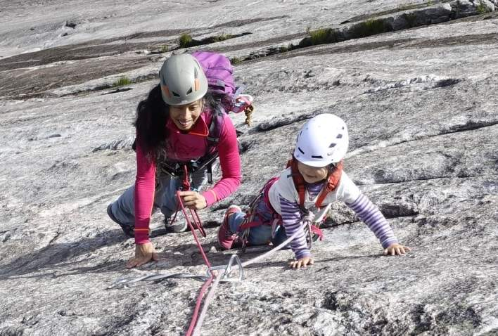 Climbing with kids at Slettafjell Southern Norway