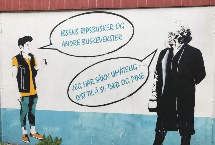 Ibsen street art in Grimstad
