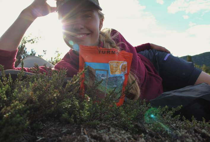 Girl with hiking food