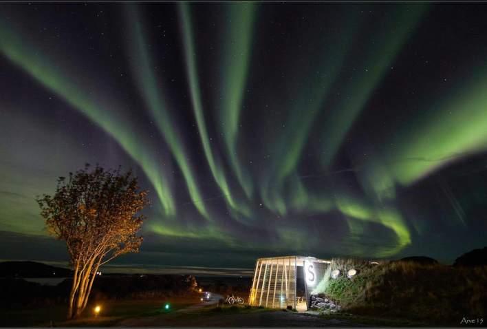 Aurora Borealis over Stokkøya Beach Bar