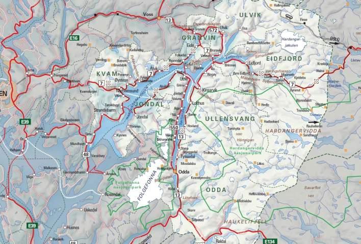 Kart over Hardanger