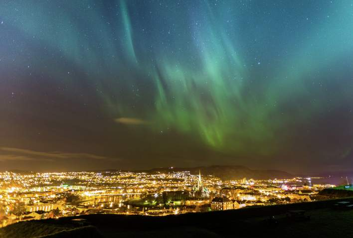 Northern lights over Trondheim