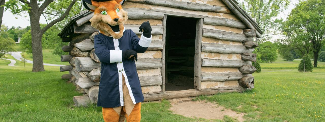 Monty the Fox outside his hut at Valley Forge Park.