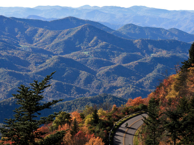 Lone Motorcyclist On Blue Ridge Parkway
